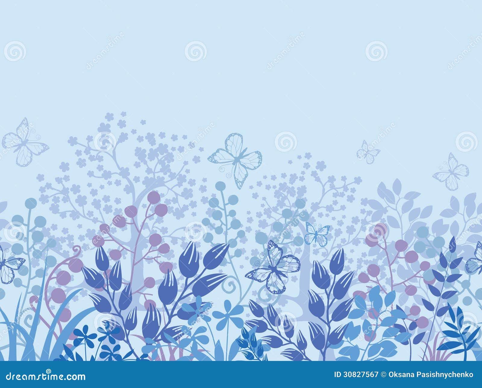 Confine senza cuciture orizzontale del modello delle piante nebbiose