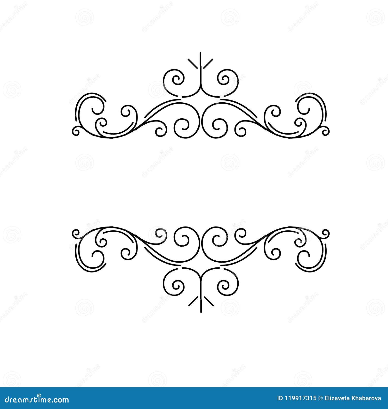 Confini ornamentali, divisori d annata della pagina di flourish, turbinii reali dell ornamento ed elementi classici della decoraz