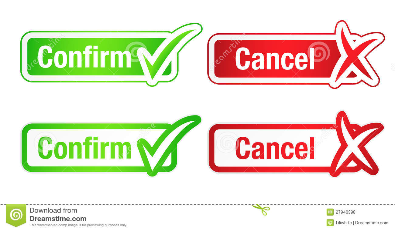 Confirm And Cancel Buttons With Checkmarks Royalty Free Stock Photos ...