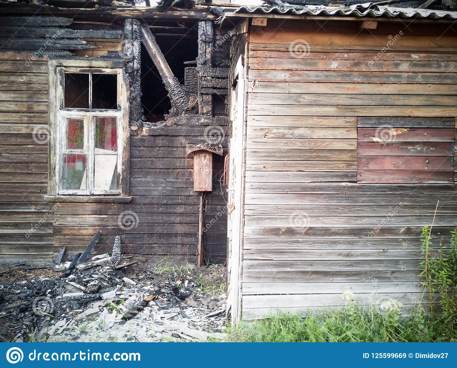 Burned-down Wooden House Stock Image  Image Of Charred