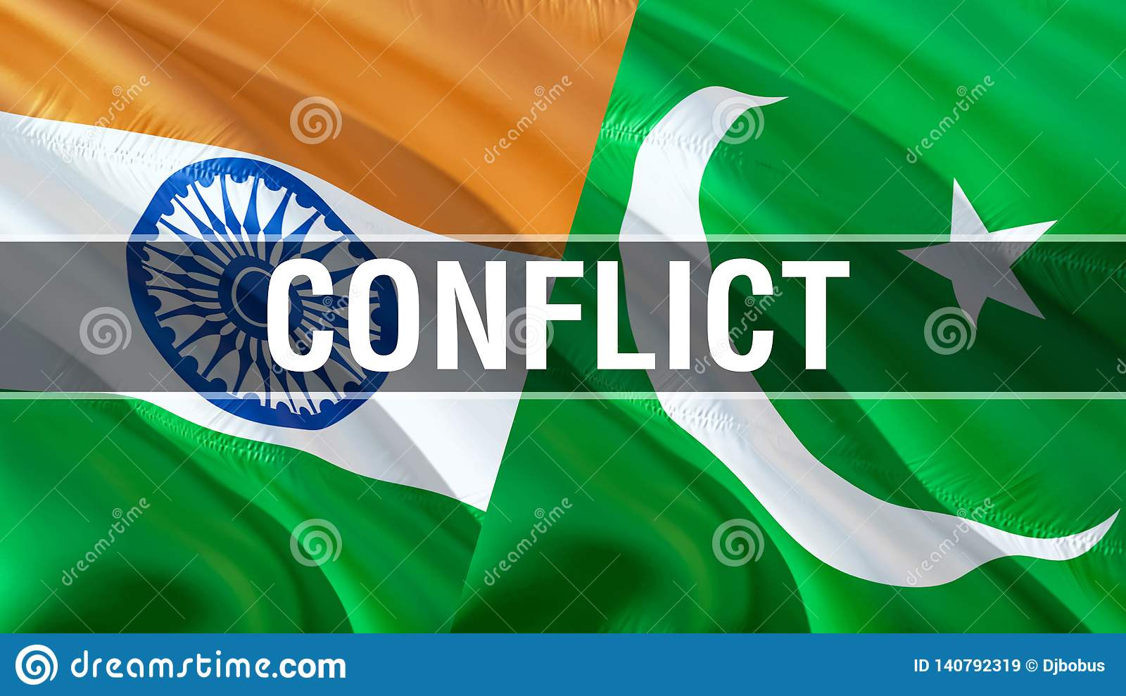 Conflict on Pakistan and India flags. Waving flag design,3D rendering. Pakistan India flag picture, wallpaper image. Kashmir