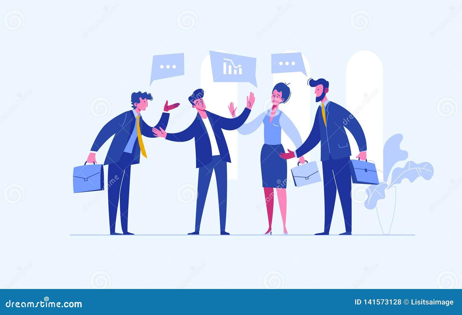 Conflicto de la parada El árbitro del hombre de negocios encuentra compromiso Mediador que soluciona la competencia Conflicto y s