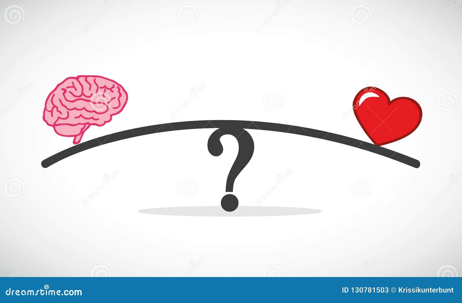 Conflicto del corazón y del concepto del cerebro entre las emociones y el libra de pensamiento racional
