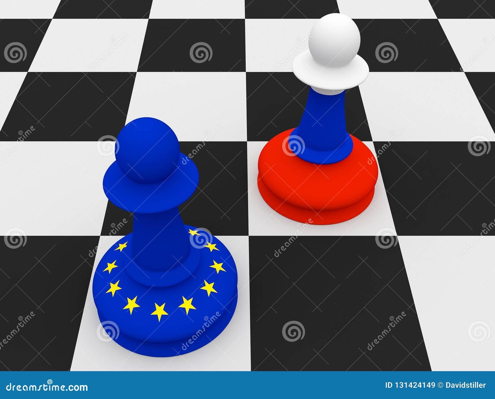 Conflit entre la Russie et l UE : Russe et gages d échecs de drapeau d UE, illustration