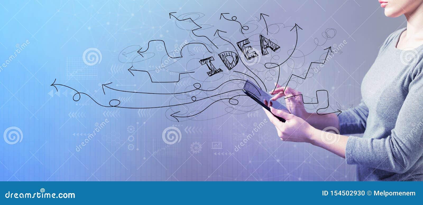 Confrontare le idee le frecce di idea con la donna che per mezzo di una compressa