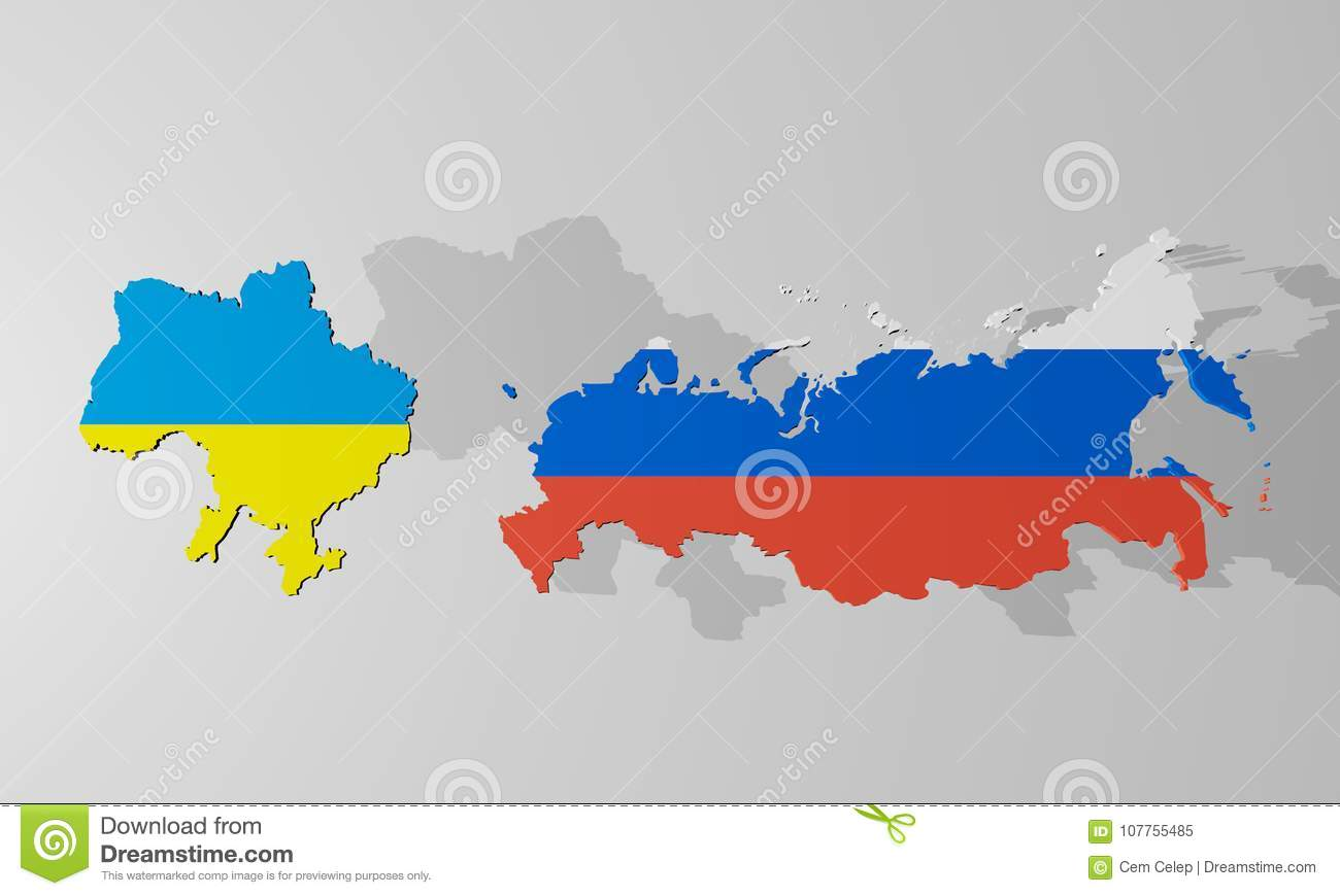Ukraine And Russia Map.The Confrontation Between Ukraine And Russia Stock Illustration