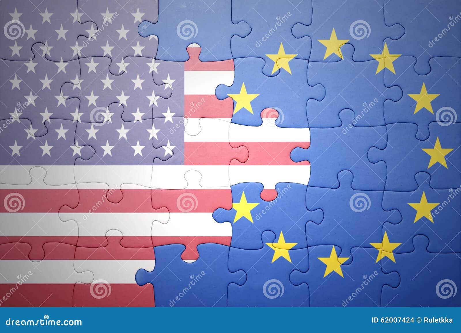 Confunda com as bandeiras nacionais de Estados Unidos da América e da União Europeia