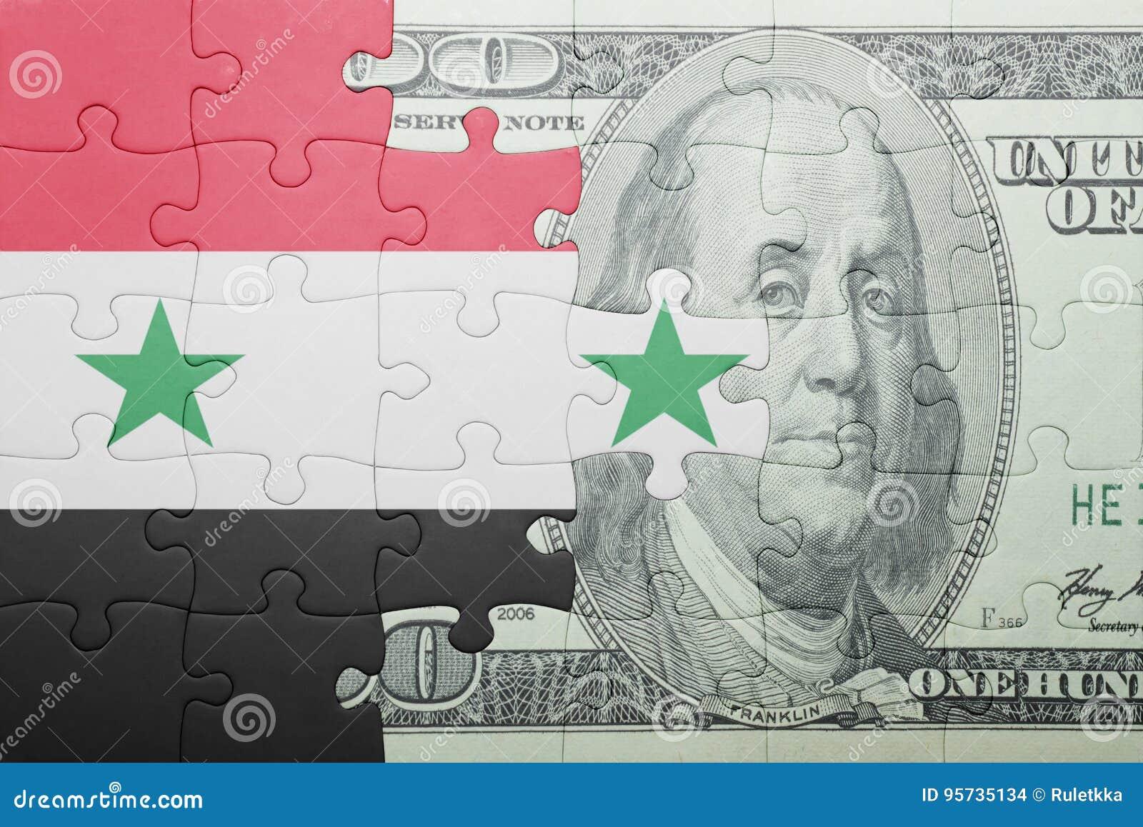 Confunda com a bandeira nacional da cédula de syria e de dólar