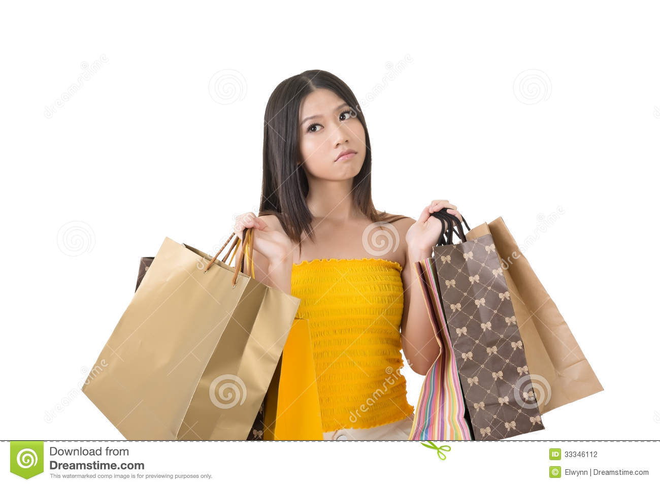Woman posing with shopping bags isolated on white background full - Asian Background Bags Confused Isolated Portrait Shopping Studio White Woman
