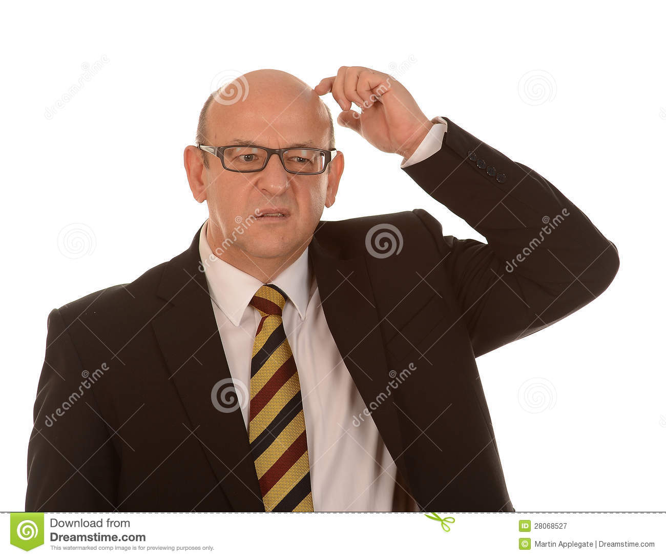confused bald man royalty free stock photography image Worried Computer Thinking Worried Businessman Clip Art