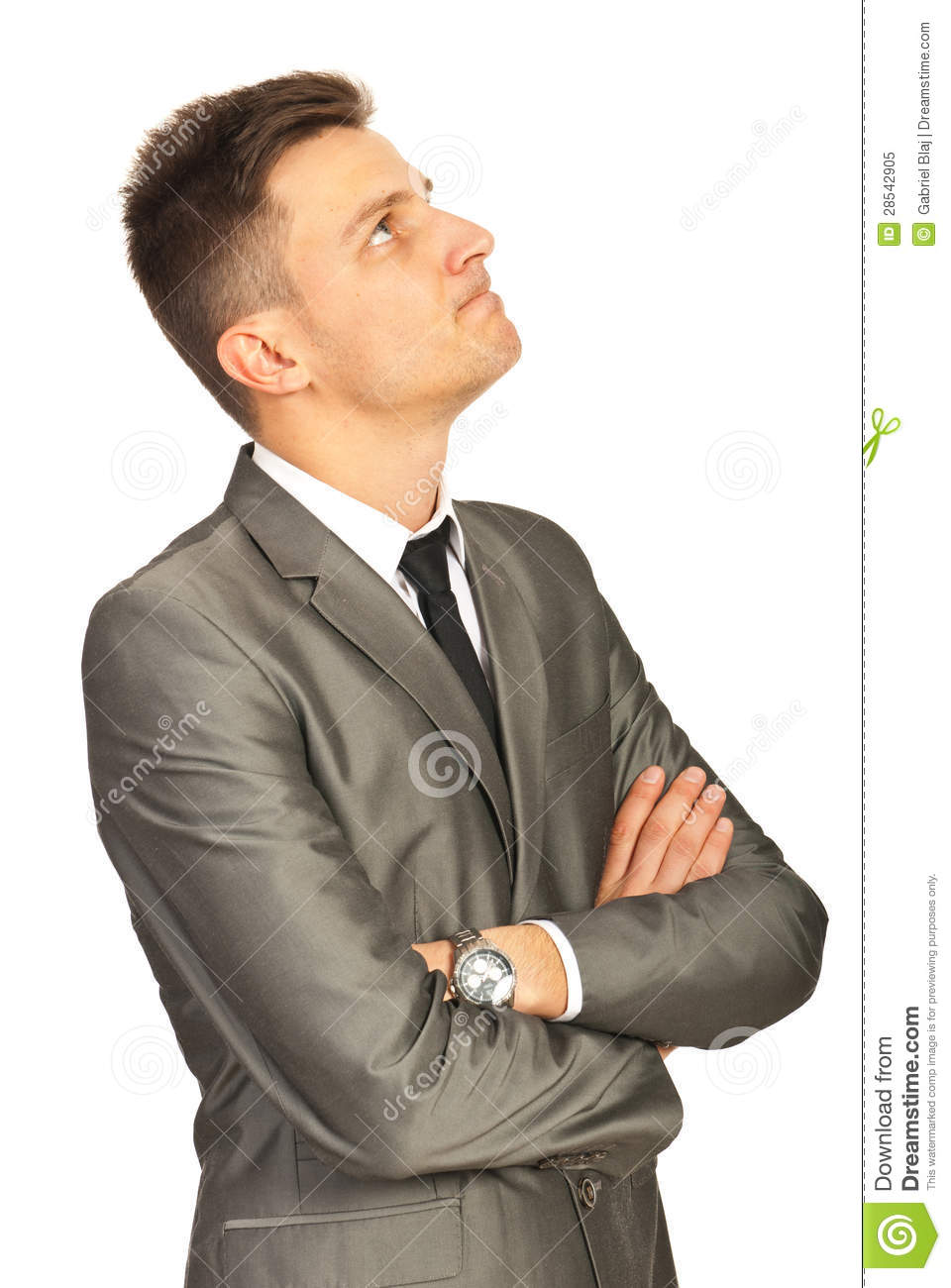 Confused Business Man Looking Up Royalty Free Stock Photo