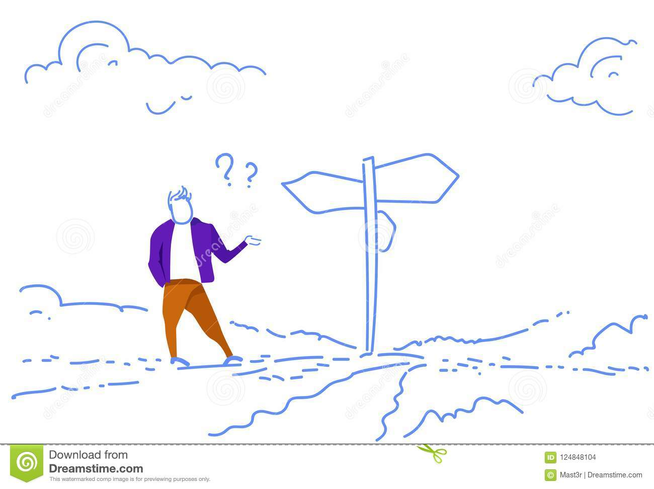 Confused businessman standing road sign choose direction way signboard arrow question marks sketch doodle horizontal