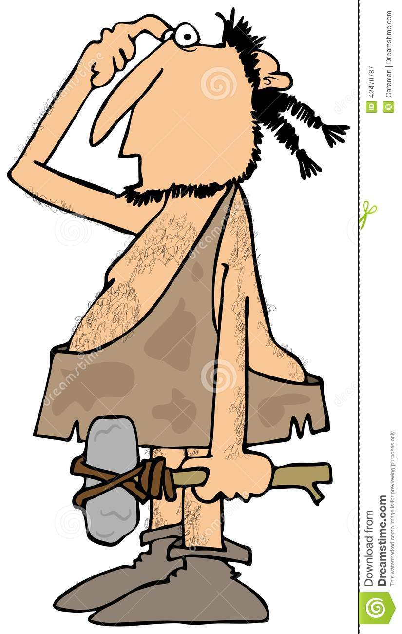 Caveman Questions : Confused caveman with a rock hammer stock illustration