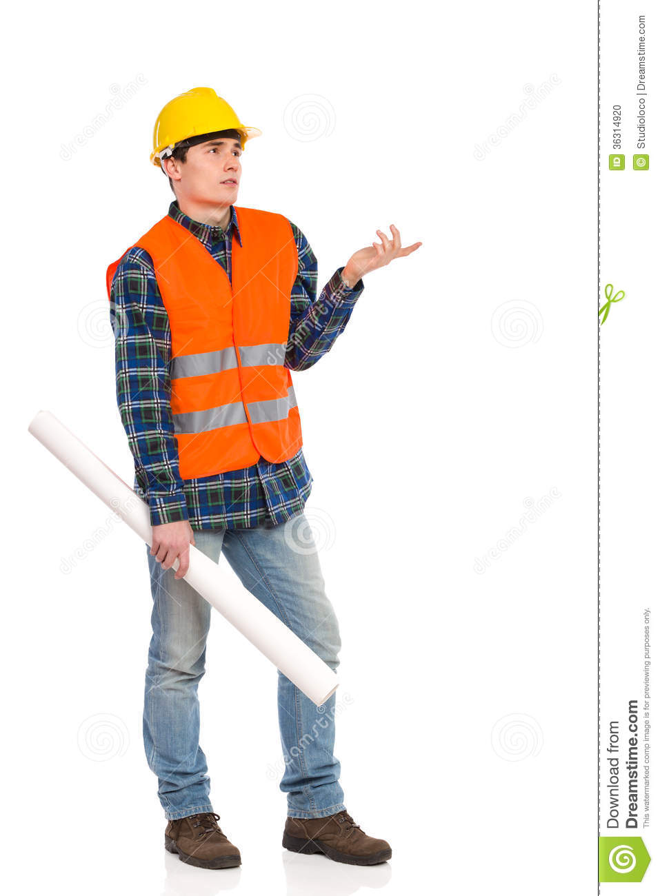 Confused Construction Worker Holding Rolled Paper Plan. Stock Photo ...