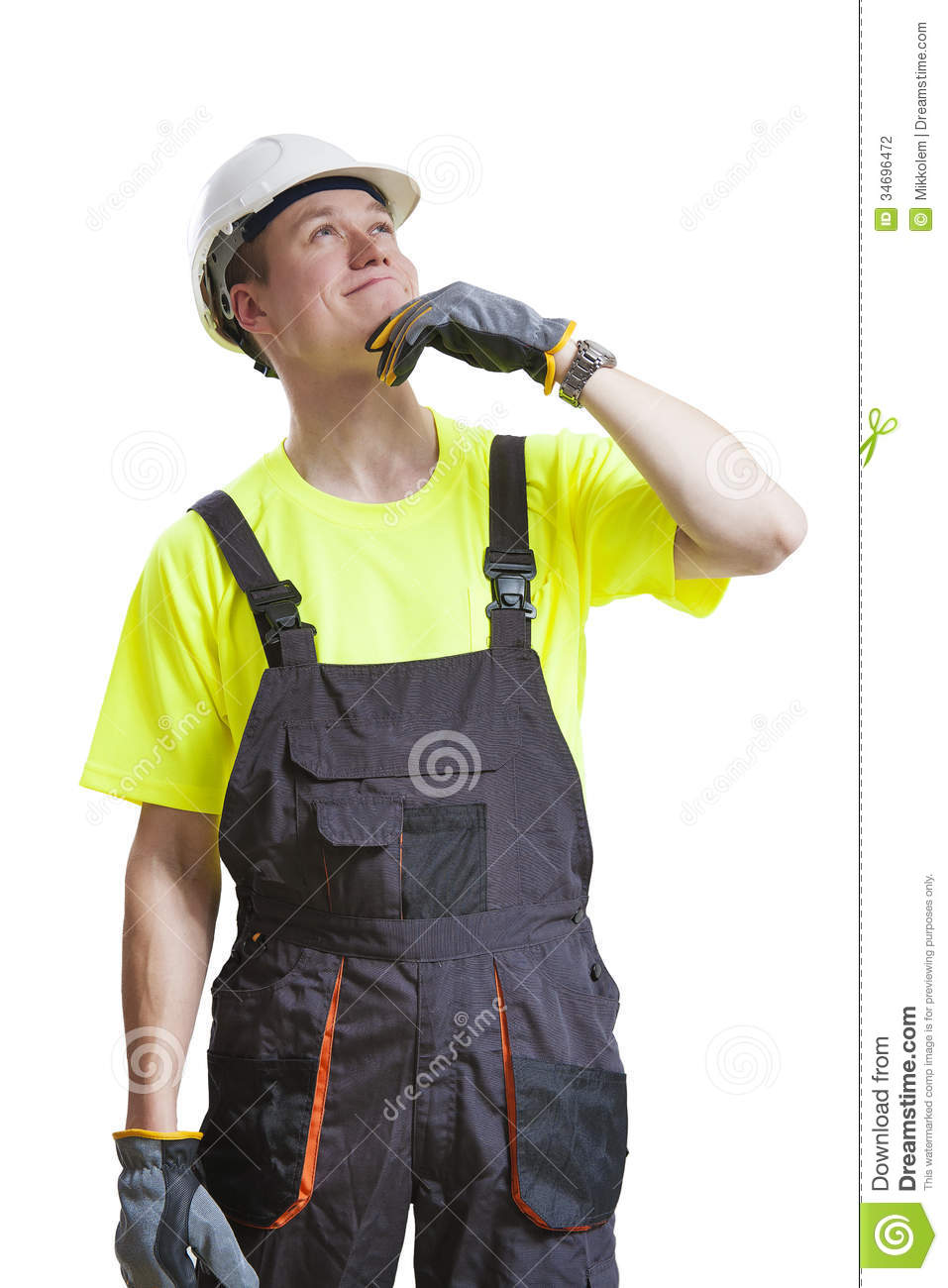 Confused Construction Worker Stock Photo