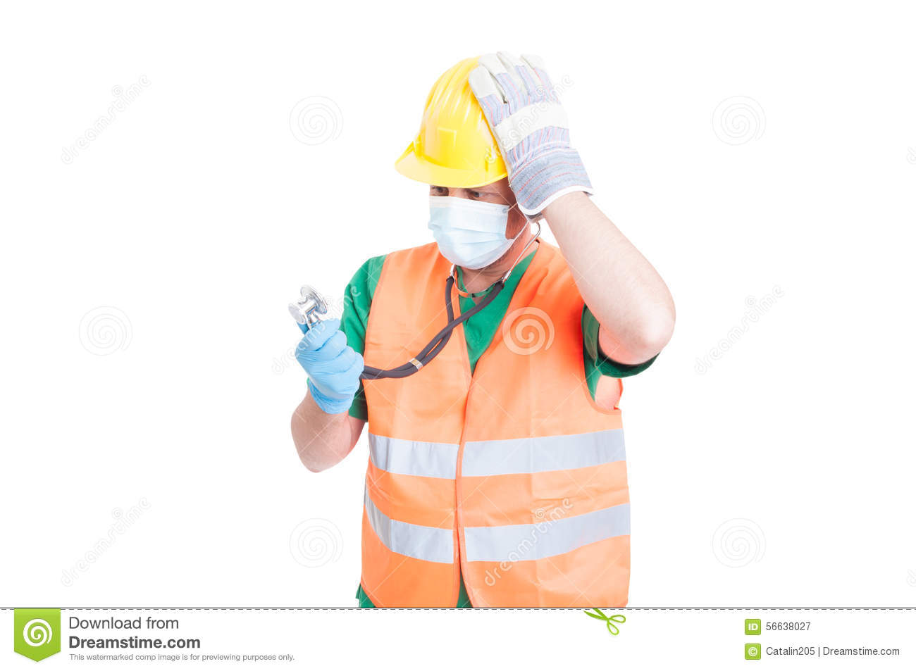 doctor medic or builder or constructor jobs stock photo image confused doctor or medic wearing builder clothes royalty stock photography
