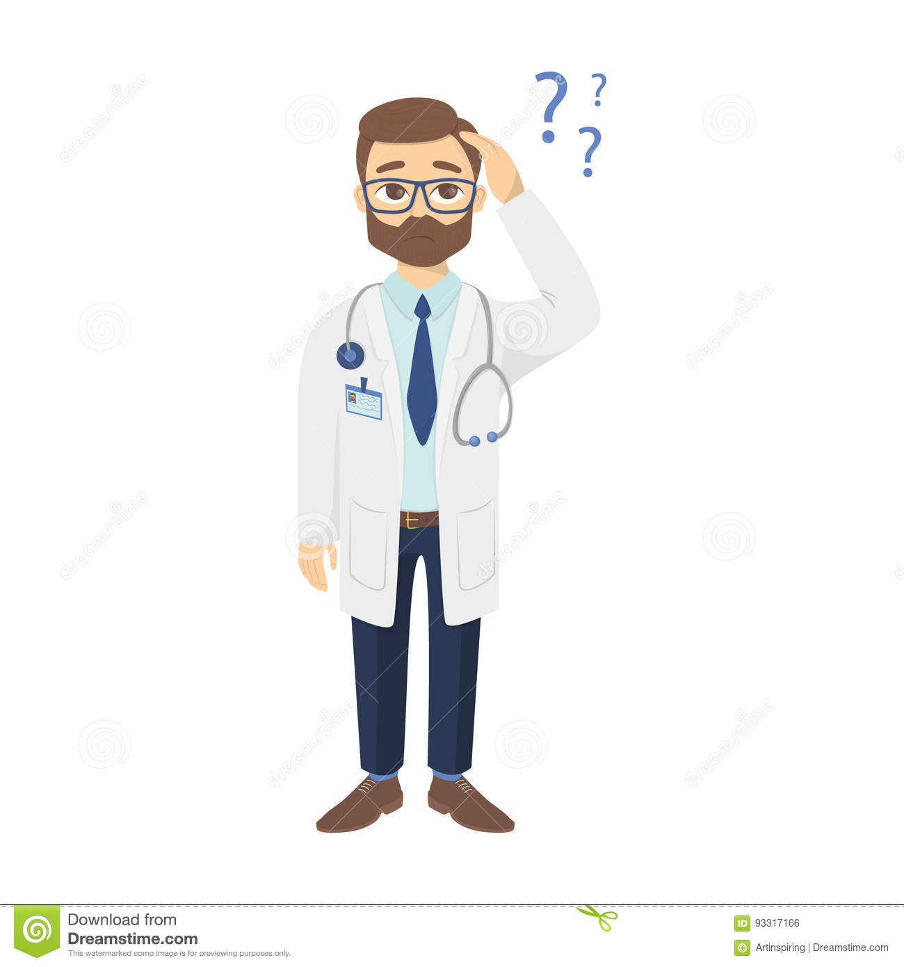 Confused Doctor With Questions. Stock Vector ...