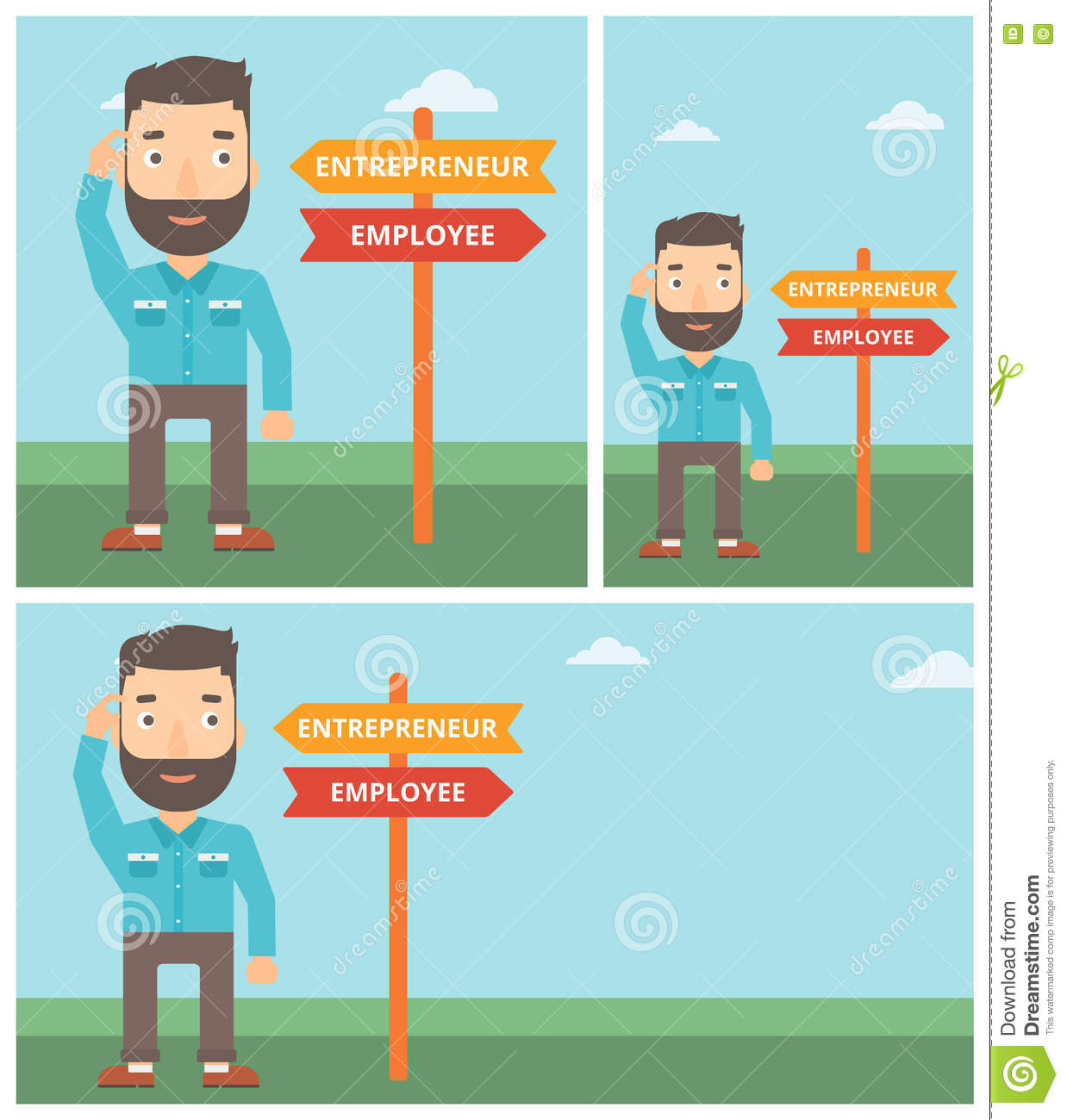 Character Design Career Path : Confused man choosing career pathway cartoon vector