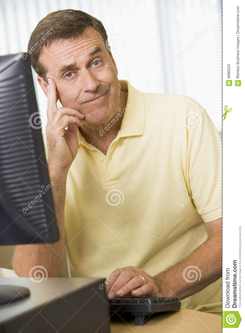 Confused Man On A Computer Stock Images - Image: 6080524