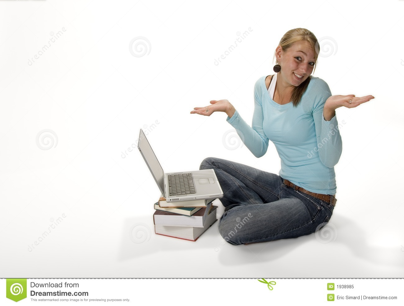 Confused Teen With Laptop Computer Royalty Free Stock