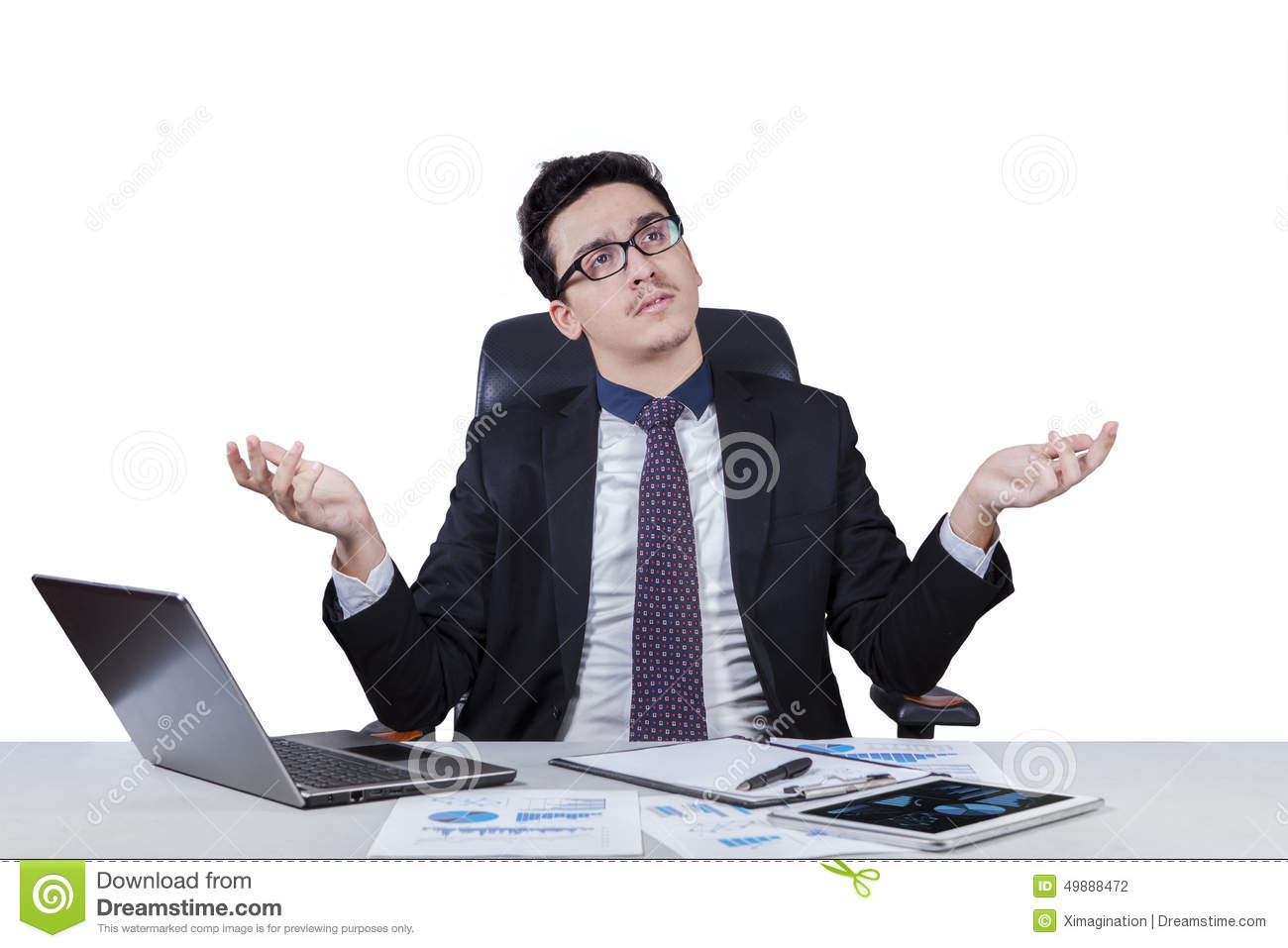 smart worker wondering royalty stock image image  confused worker finding a solution stock photography