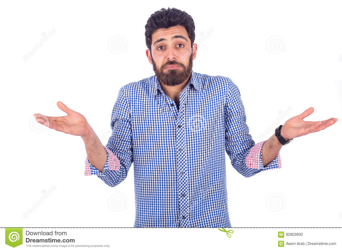 2d6fe6afae5 Beard young man feeling puzzled and wearing blue shirt isolated on white  background