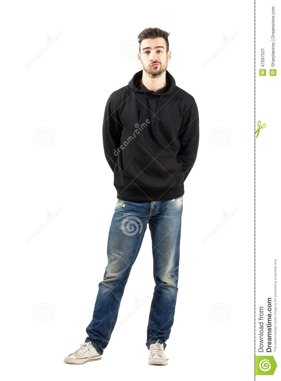 full body hoodie confused young man in hoodie with hands on back stock 5430