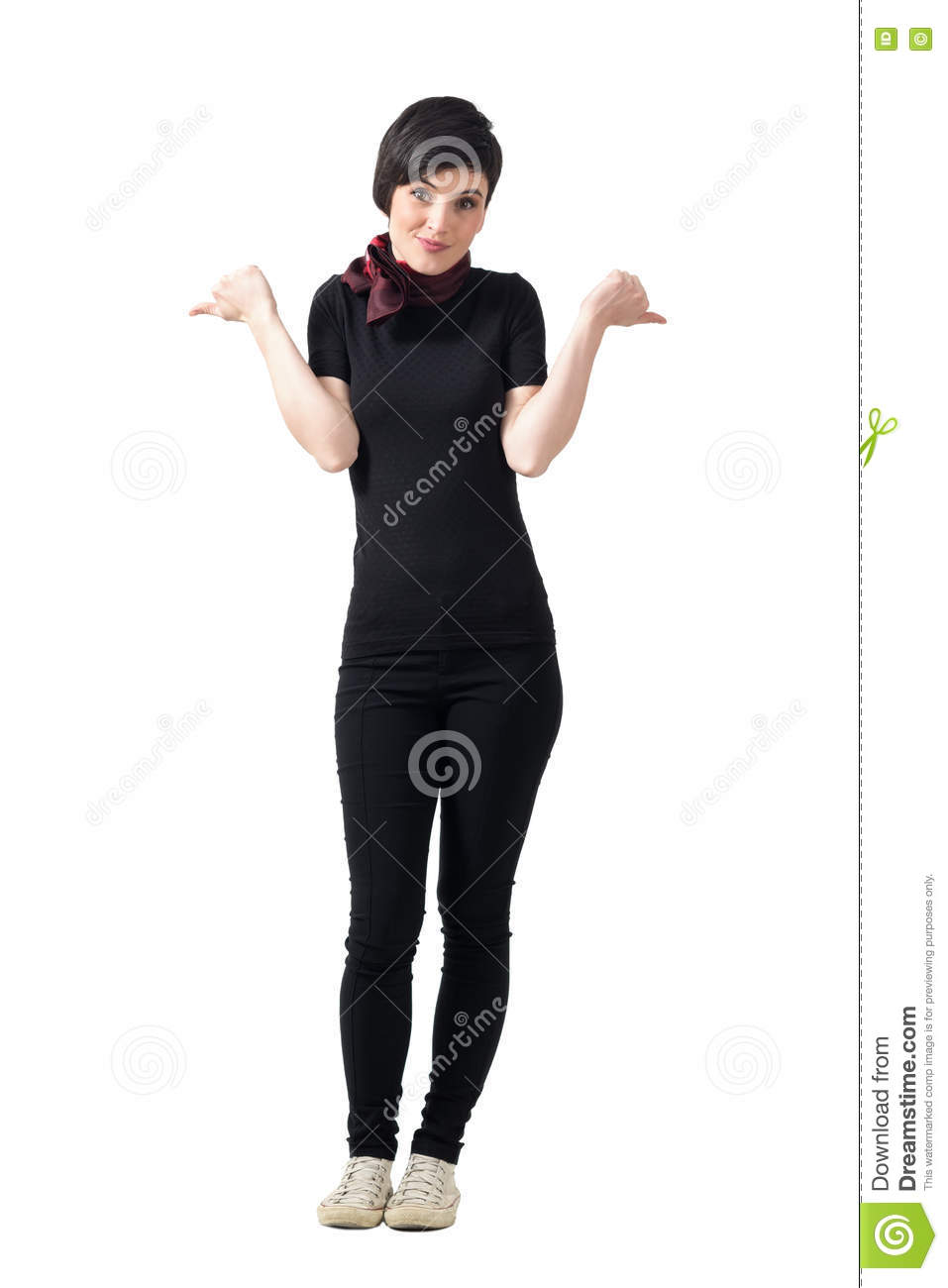 Confused young short hair woman hesitate to show thumbs up or thumbs down gesture