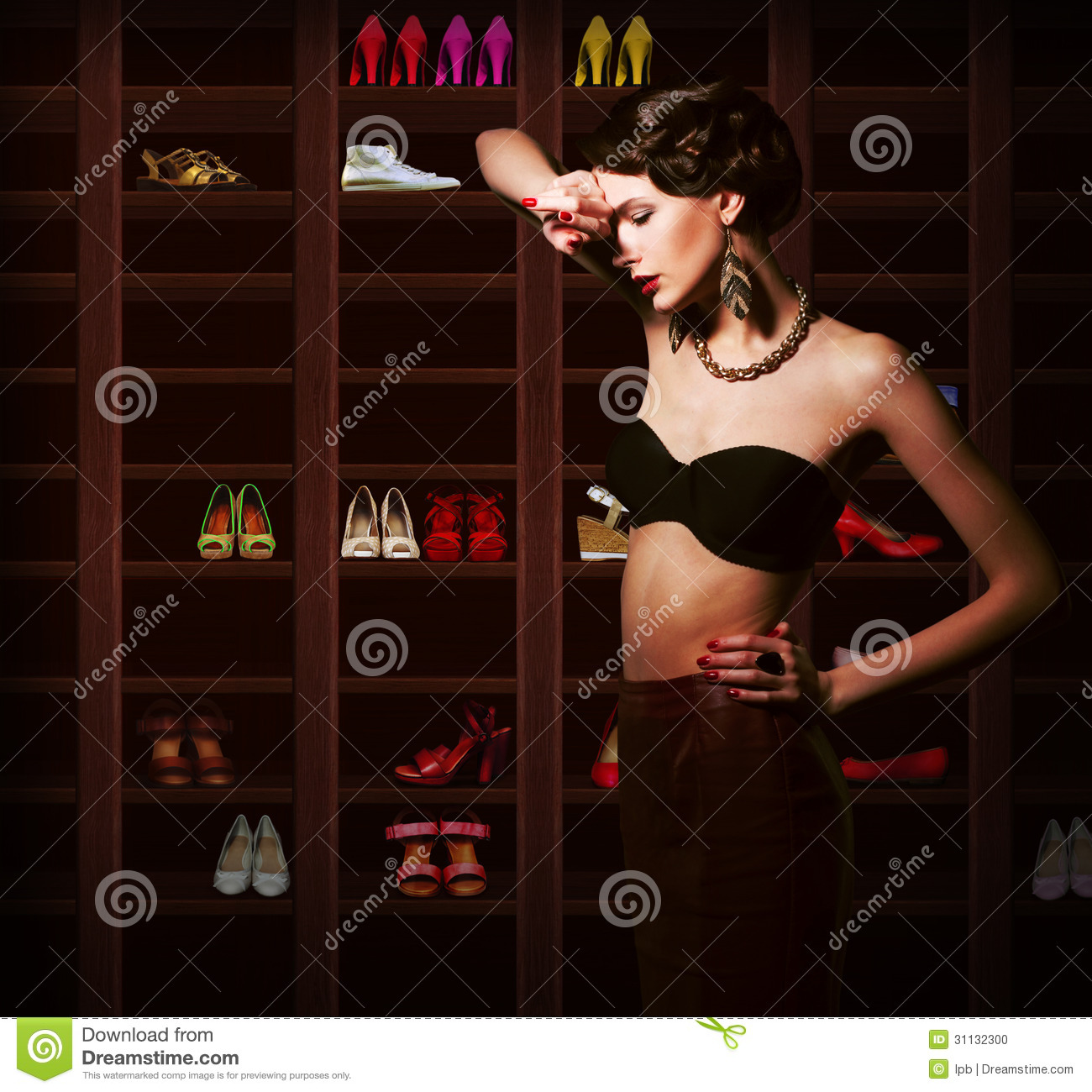 Confusion. Upset Woman Choosing what to Wear. Ward