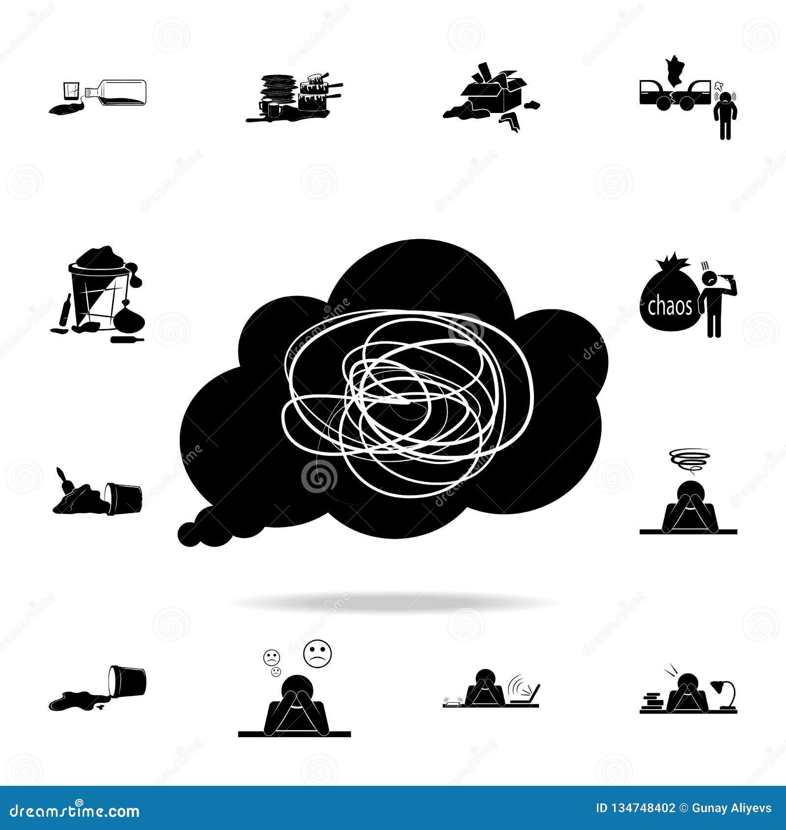 Confusione in una   icona di pensieri di s Insieme dettagliato delle icone dell elemento di caos Progettazione grafica premio Un