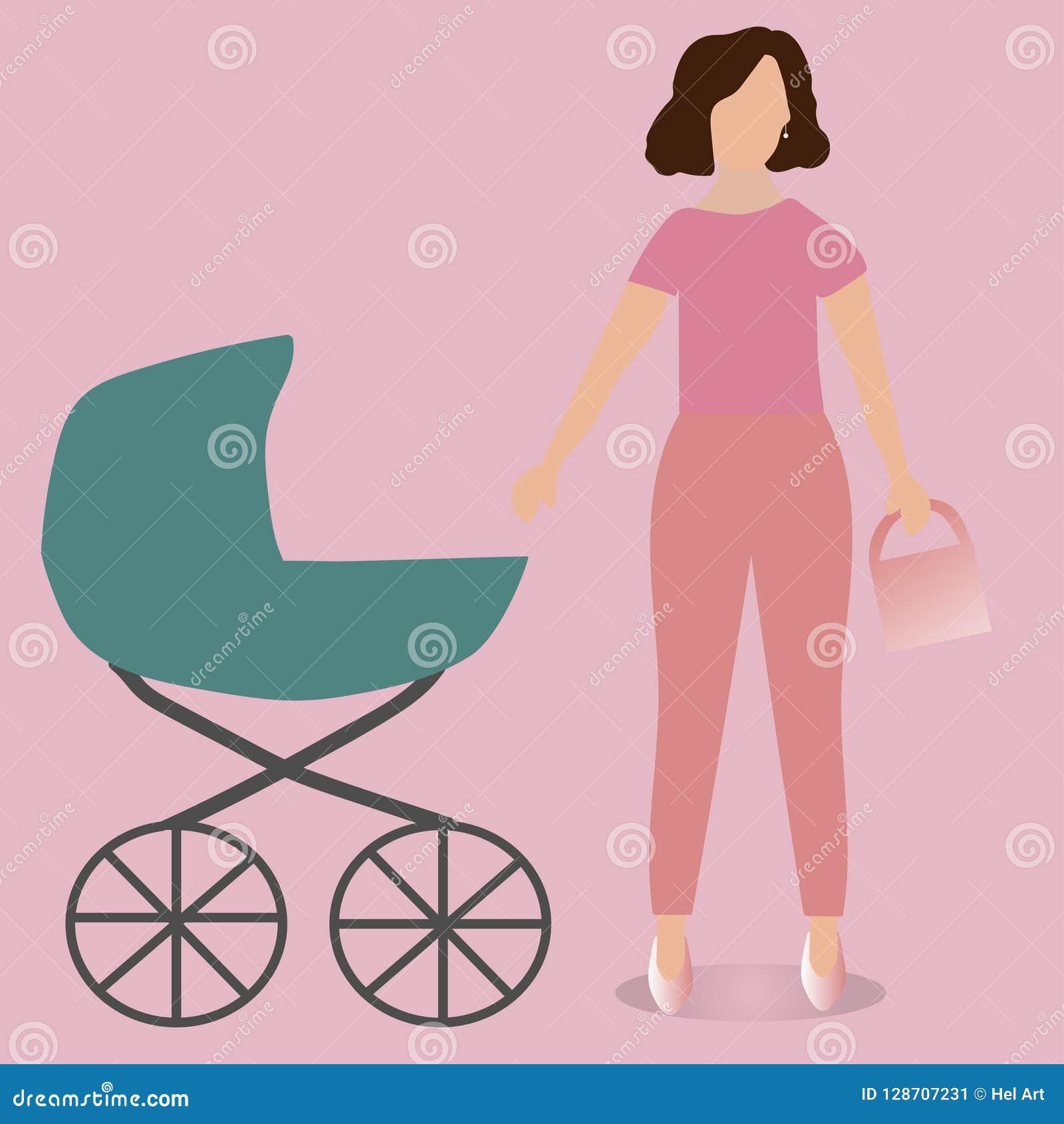 CONGÉS DE MATERNITÉ Jeune mère avec une poussette