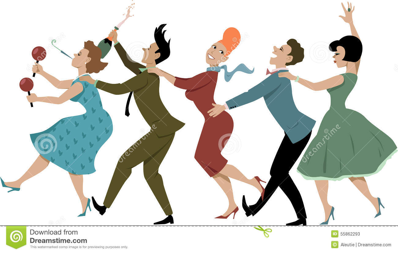 dressed in late 1950s early 1960s fashion dancing conga with maracas ...