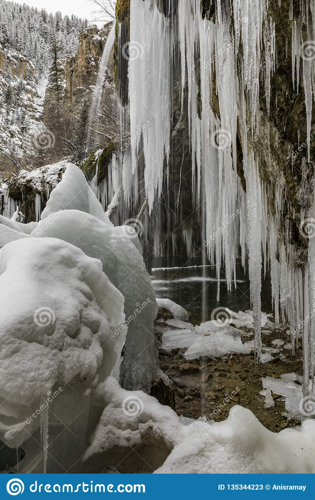 Congelado, Colorado, caminhando, curso, EUA, inverno, neve
