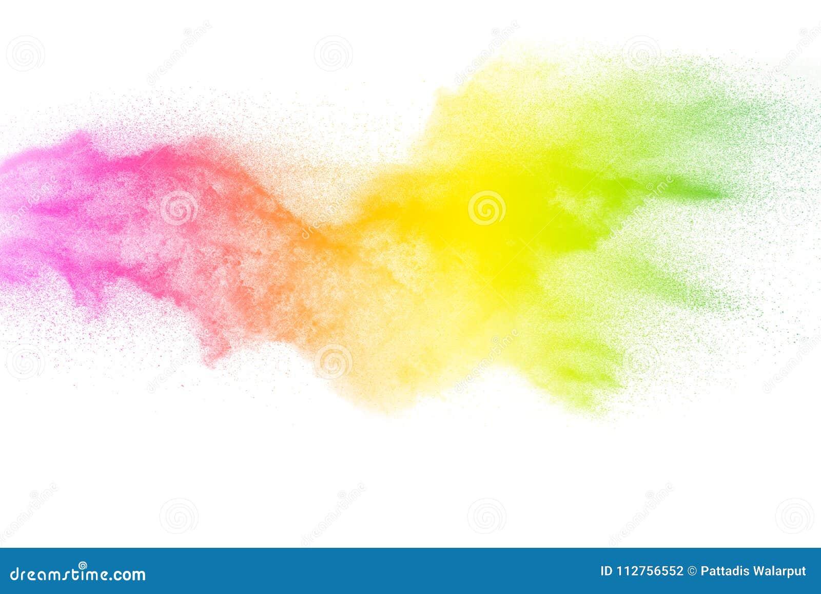 Congele el movimiento de las partículas del color en el fondo blanco Gránulo multicolor de la explosión del polvo