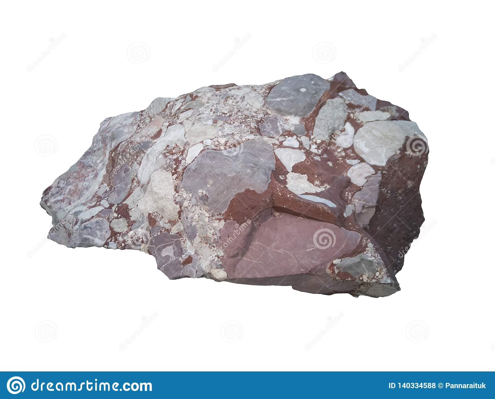 Conglomerate Stone Isolated On White Background Stock Photo