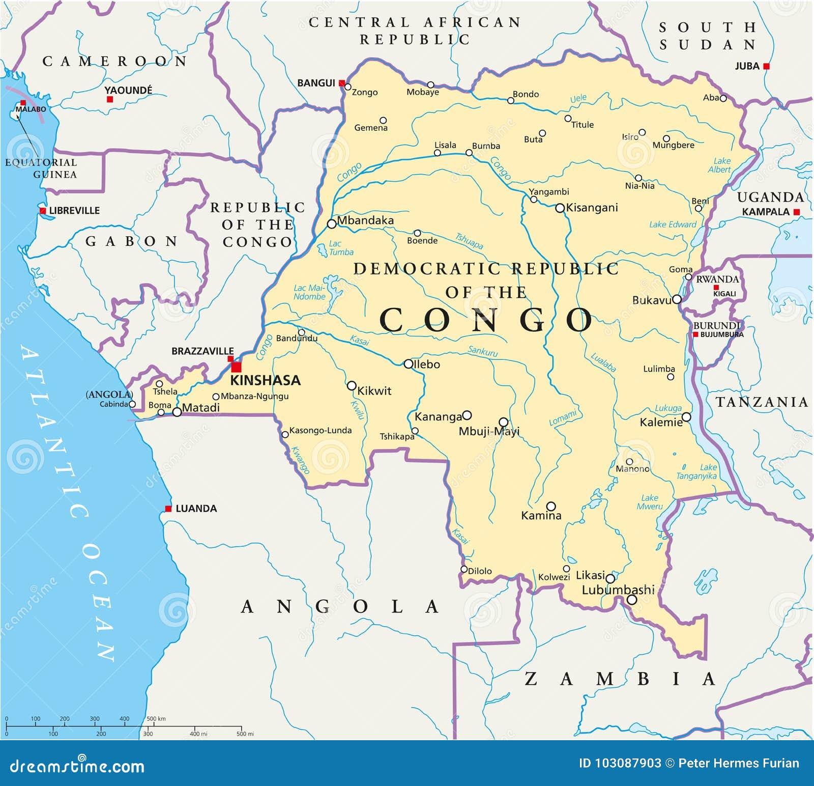 Congo Democratic Republic Political Map Stock Vector - Illustration ...