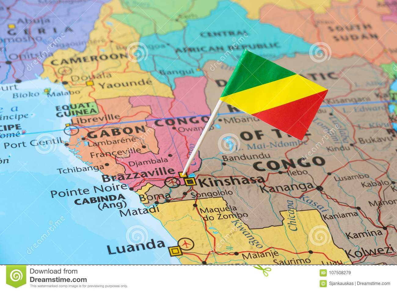 Congo flag pin on map stock image Image of grid detailed 107508279