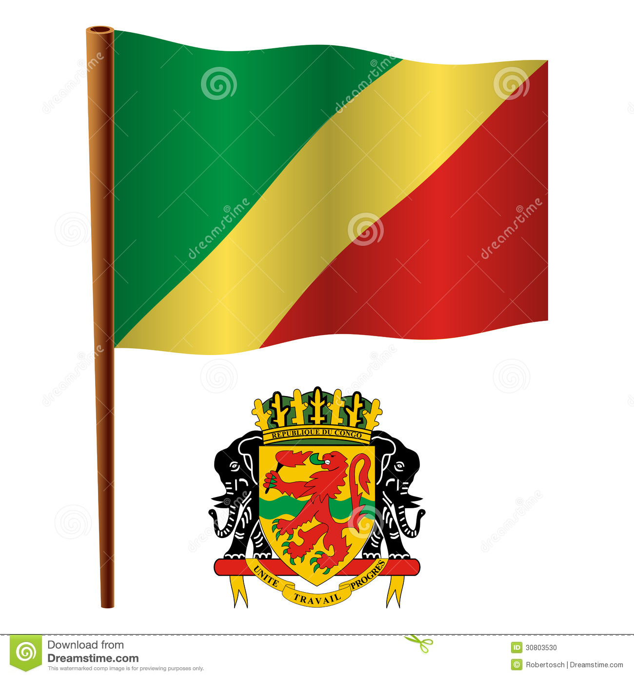 Flag Of Congo Box Package Royalty-Free Cartoon
