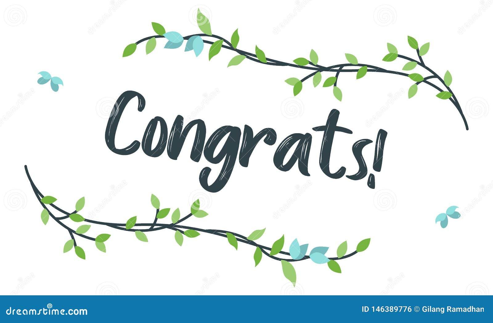 Congrats, τυπογραφία συγχαρητηρίων με το Floral πλαίσιο, διάνυσμα για το χαιρετισμό