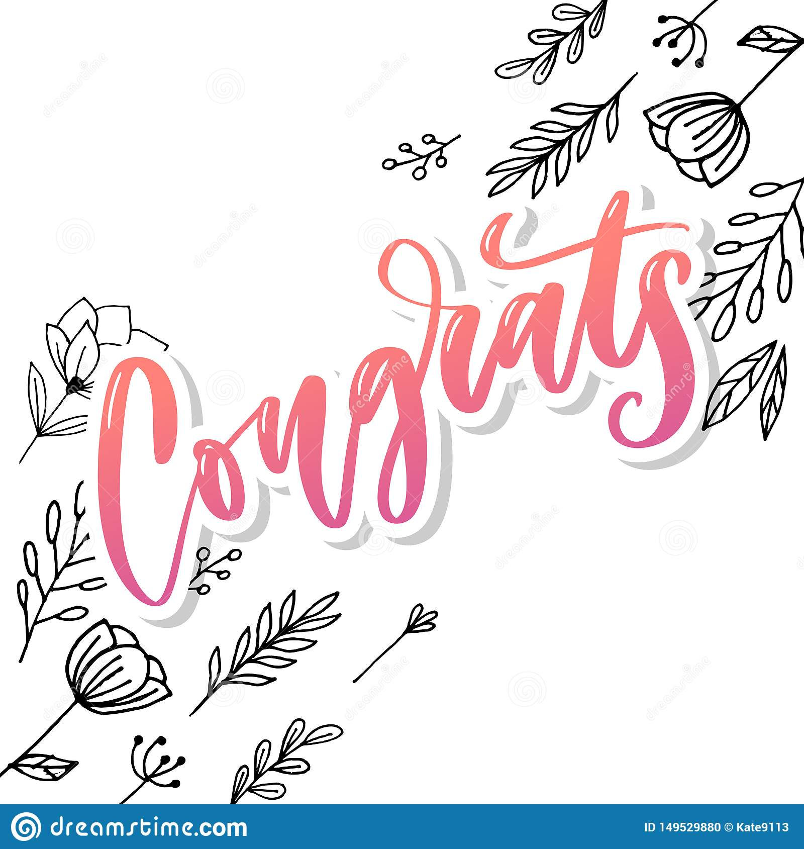 graphic relating to Congratulations Card Printable known as Congrats Hand Created Lettering For Congratulations Card