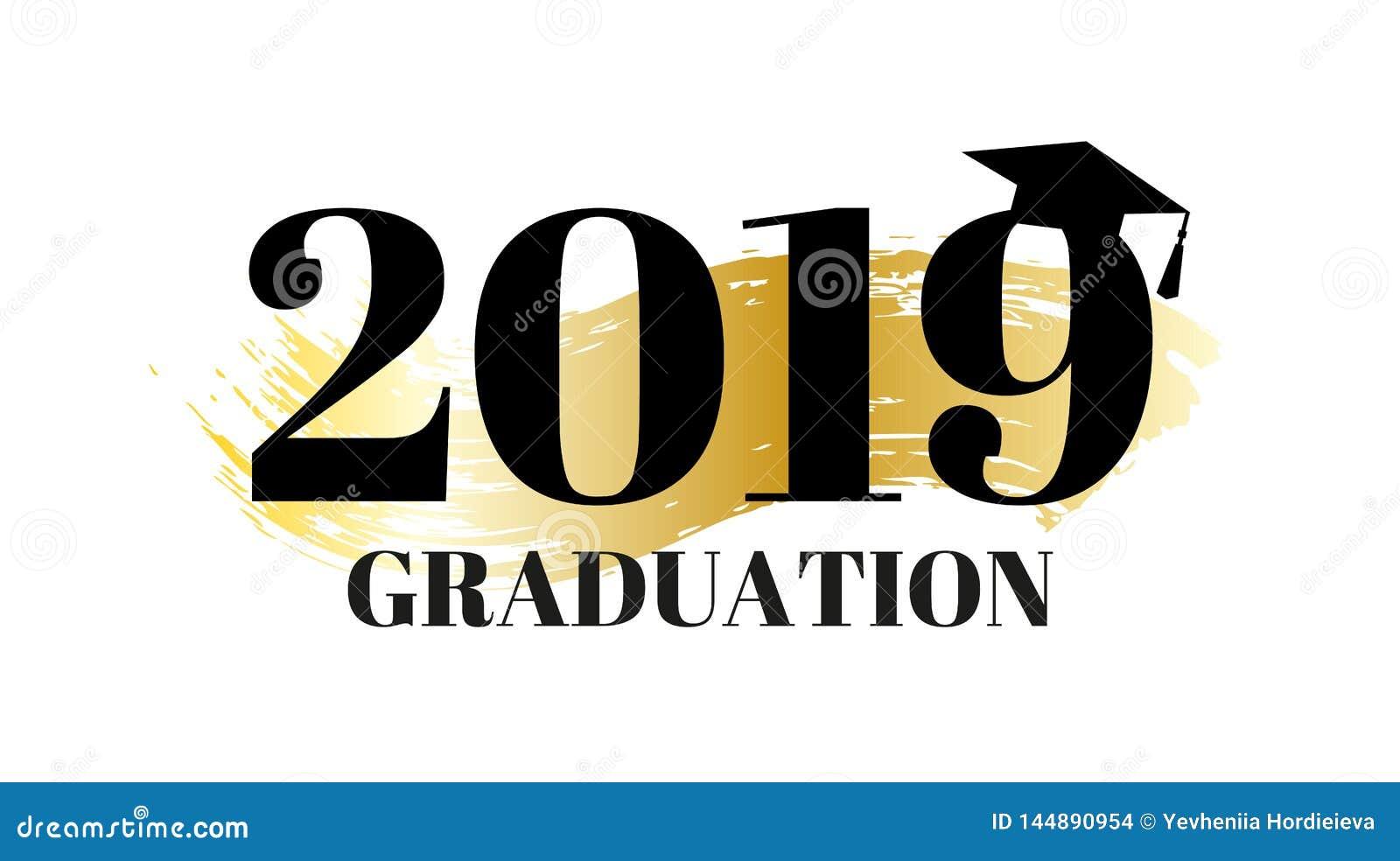 Congrats kandidater, grupp av 2019 Baner f?r avl?ggande av examenparti med den guld- bakgrunds- och avl?ggande av examenhatten Ve