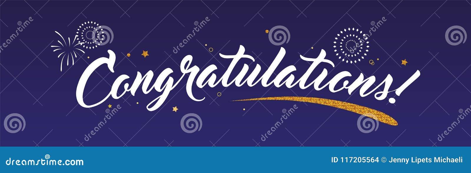 Congrats lyckönskanbaner med blänker garnering och fyrverkerier Handskrivet modernt borstebokstävermörker
