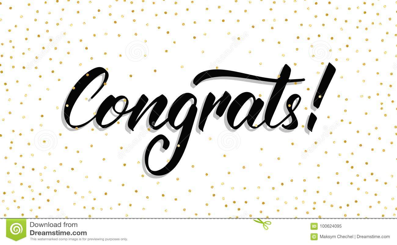 congrats modern handlettering congrats with polka dot confetti