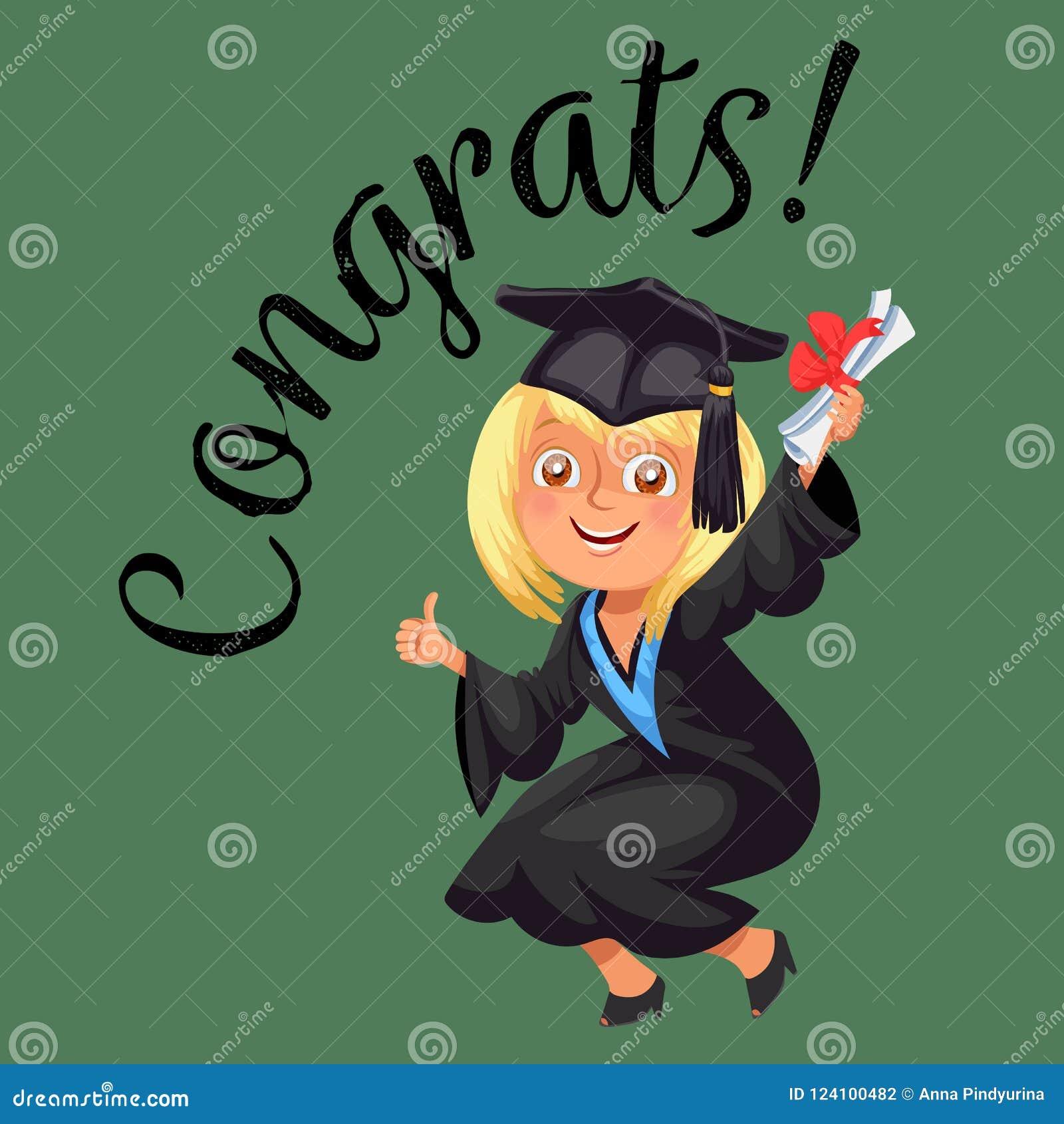 Congrats suckar den färgrika plana affischen med den lyckliga doktorand- tummen för den berömavläggande av examendagen och visnin