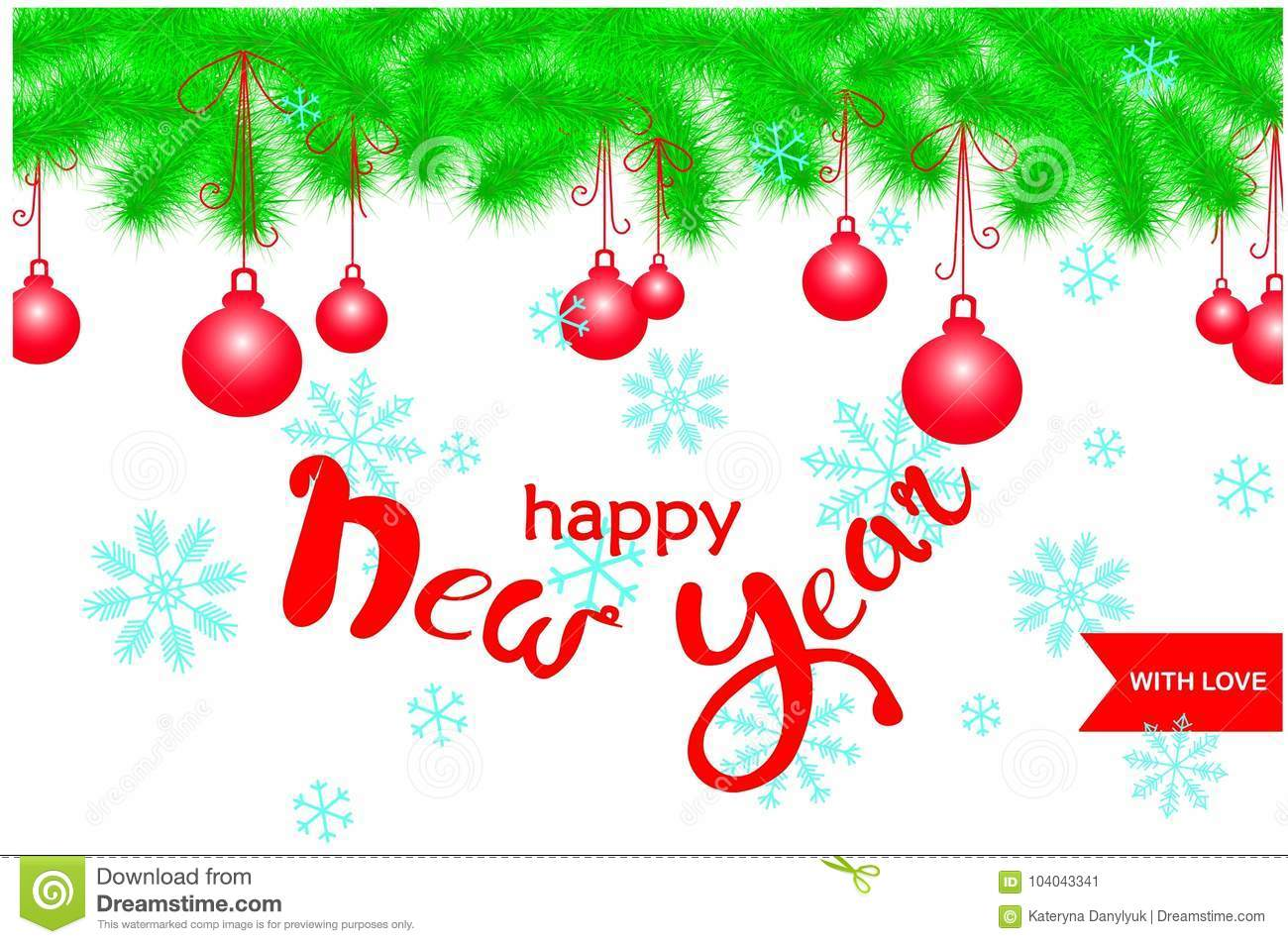 congratulation card with green christmas tree garland on top red balls lettering happy new year with love blue snowflake on white stock vector