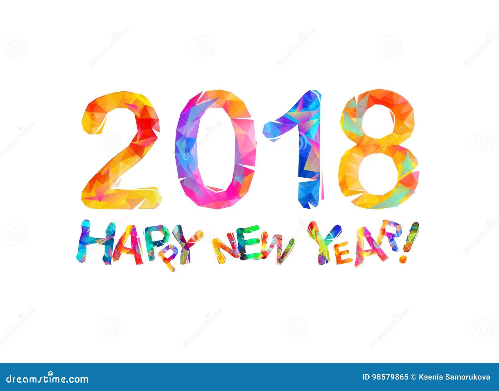 Congratulation Card. Happy New Year 2018 Stock Vector - Illustration ...