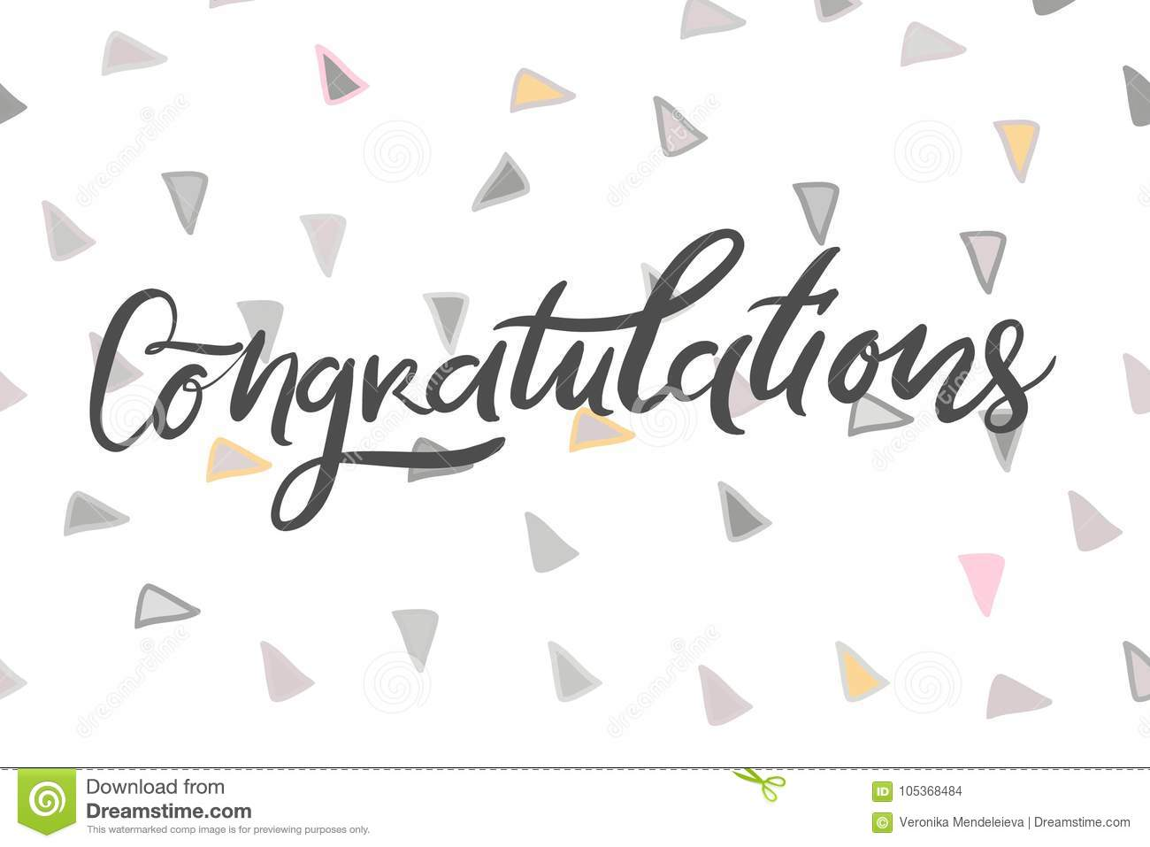 Congratulation Card Vector Hand Drawn Phrase Hand Lettering Poster