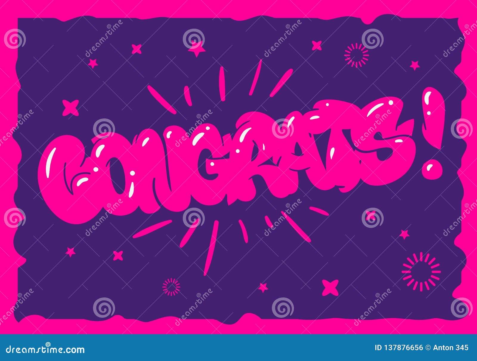 Congratulation Congrats Greeting Card Flyer Poster Hand Drawn