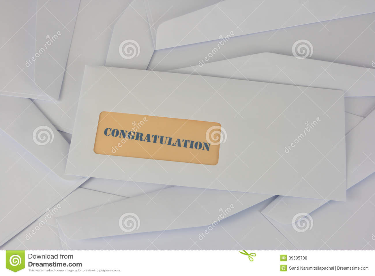 congratulation information from white envelope stock photo image