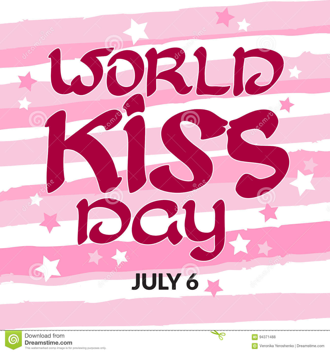 congratulation world kiss day with handwritten words july 6 stock